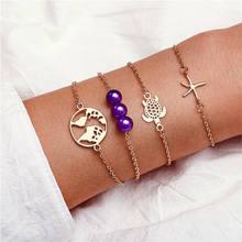 Boho браслет из натурального камня браслеты с камнями Винтаж сердце браслет в стиле бохо комплект для Для женщин Девушка чешские черепаший па...(Китай)