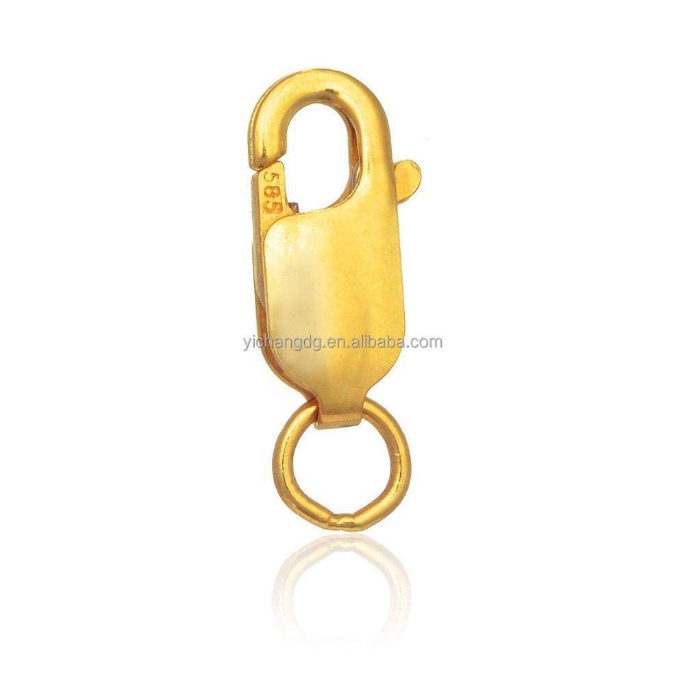 Замок с застежкой-карабином, цвет желтый золото 14 к, 12 мм