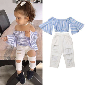 2019 Newest Design Off Shoulder Kids Clothes stripe ruffle sleeve top+ white jeans 2pcs Casual Girls Clothing Set