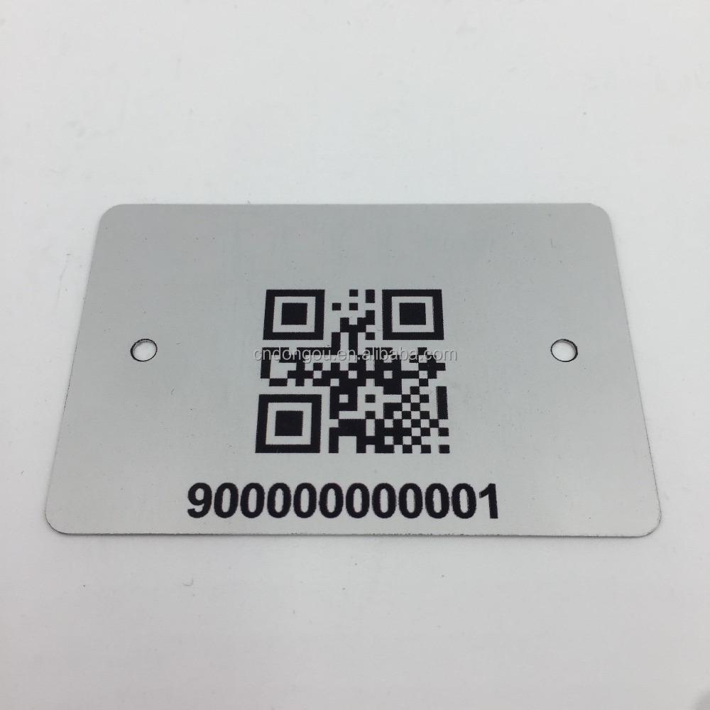 QR code Barcode personal information UV printing 2 hole metal tag