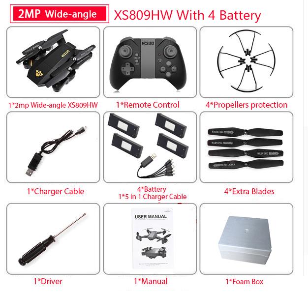 Visuo XS809W XS809HW Квадрокоптер мини складной селфи-Дрон с Wifi FPV 0.3MP/2MP камерой удержание высоты RC Дрон Vs JJRC H47 E58(Китай)