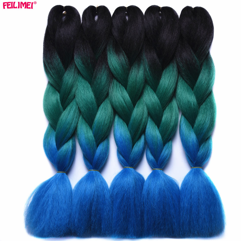 Precise Feilimei Two Tone Color Crochet Hair Extensions Kanekalon Hair Synthetic Crochet Braids Ombre Jumbo Braiding Hair Extensions Beautiful And Charming Jumbo Braids