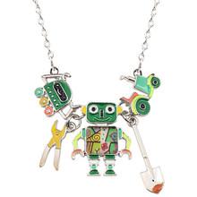 Bonsny массивный эмалированный сплав робот-Новинка ожерелья, подвесы, чокеры, цепочка, модные ювелирные изделия, подарок для женщин, девушек, п...(Китай)