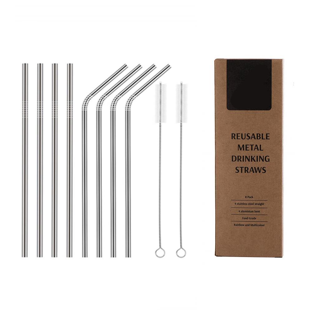Juego de 8 pajitas de metal de acero inoxidable Pajitas de beber reutilizables