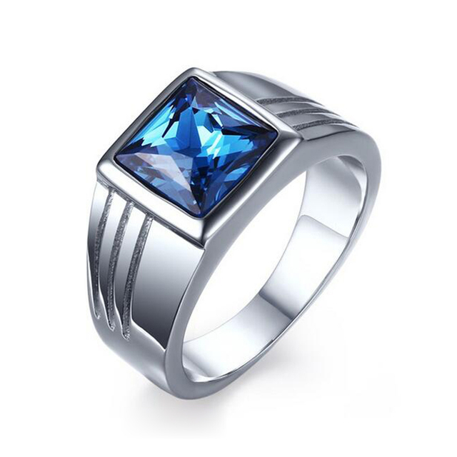 Male Stainless Steel Ring Blue Stone Sapphire Jewelry Ring