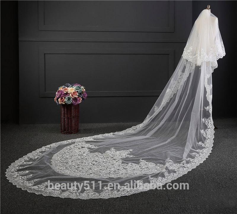 2021 оптовая продажа, новое длинное кружевное свадебное платье, длинная Тюлевая Фата с вышивкой, кружевные свадебные платья HL12