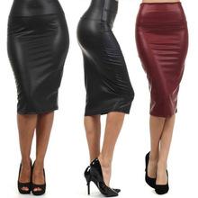 free shipping plus size high waist faux leather pencil font b skirt b font black font
