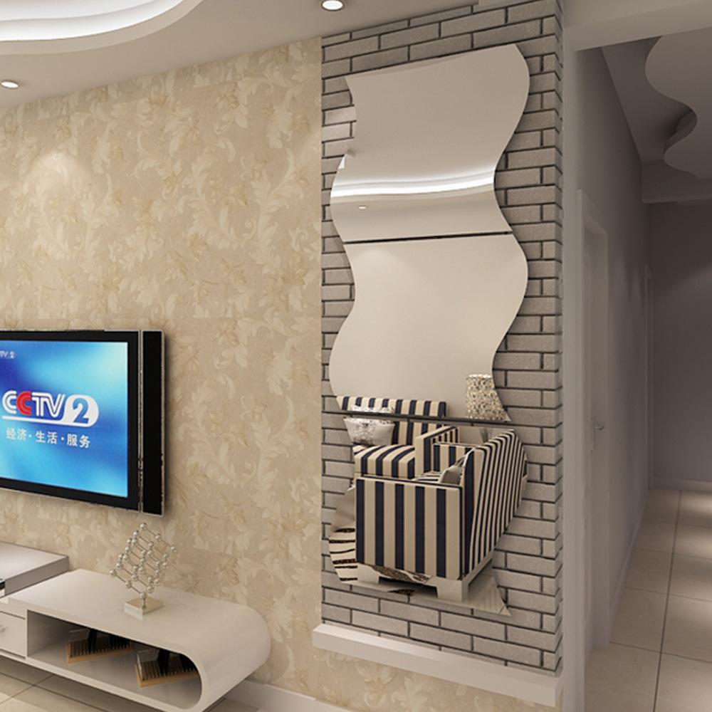 wavy mirror stickers muraux wc sticker 3d wall stickers. Black Bedroom Furniture Sets. Home Design Ideas