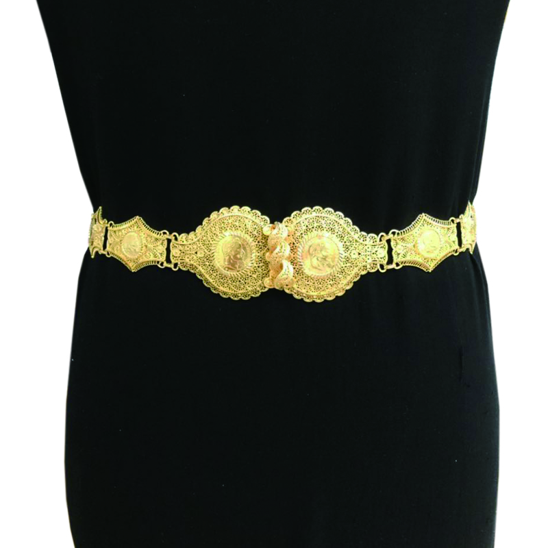 Fine French napoleon old gold coin waist chain 1862 French franc shiny pure gold band