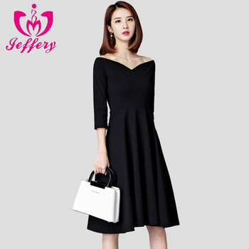2018 new women's dress Hepburn elegant big black skirt black collar annual meeting black cocktail dress with sleeves