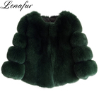 Top quality women horizontal design real fox fur coat