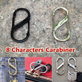 Free Shipping 5 pcs lot 8 Shaped Carabiner Safety Hook Outdoor Equipment Zinc alloy Steel Carabiner