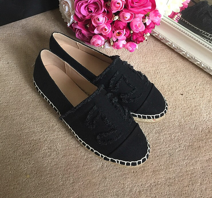 Two Tone Lambskin Espadrille Flats Shoes