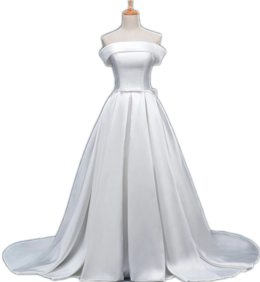 20 Elegant Simple Wedding Dresses Of 2015: 2015 Simple Elegant Satin Wedding Dresses Strapless Lace