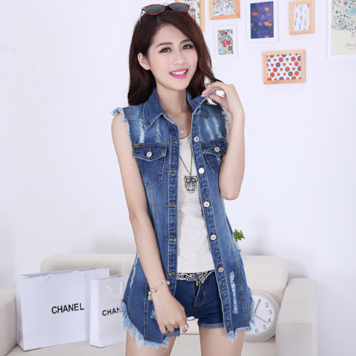 2015 new fashion sleeveless denim jacket summer style jeans jacket women veste en jean femme. Black Bedroom Furniture Sets. Home Design Ideas