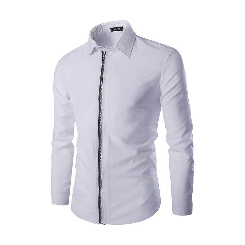 6531c6a1c57 Al por mayor-Camisas de vestir de los hombres ocasionales cremallera slim  fit moda 2017 estilo coreano de manga larga camisa de negocios blanco negro  ...