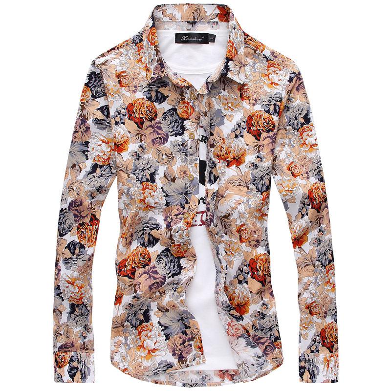 Compra flor camisetas para los hombres online al por mayor