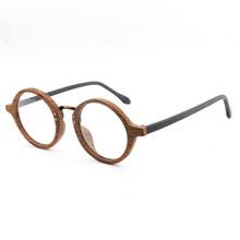 AZB, деревянная круглая оправа, очки, Ретро стиль, прозрачные линзы, очки для женщин и мужчин, деревянные оптические оправы для очков, рецепт, о...(Китай)