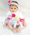 Reborn babies dolls 22 lifelike girl silicone doll reborn with colorful flower dress set child Christmas