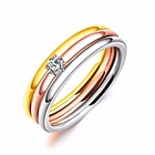 3 pcs Silver Gold Rose Gold Tone Titanium Steel Diamond Rings Women Three Color Cubic Zircon Wedding Rings