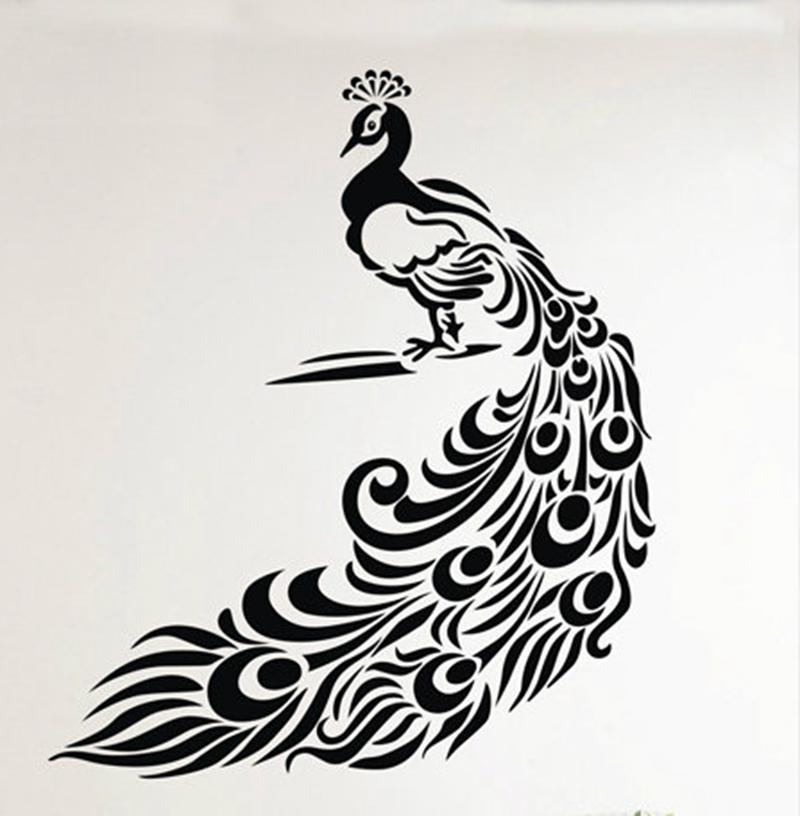 beautiful peacock pattern removable art vinyl home decor romantic festive wall stickers free. Black Bedroom Furniture Sets. Home Design Ideas