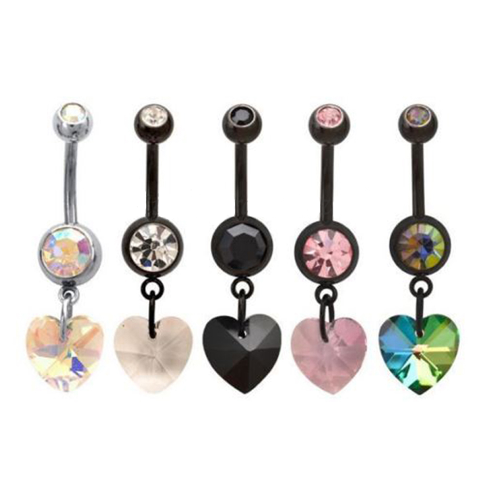 Navel Ring Double Jewelled Dangle Prism Heart Belly Bar