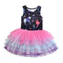 Dxton/2019 г. Детское летнее платье для девочек с единорогом лоскутное платье для девочек бальное платье-пачка для девочек хлопковая детская оде...(Китай)