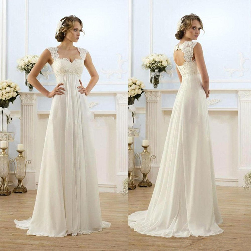 2016 Vintage Modest Wedding Gowns Cap Sleeves Lace Long