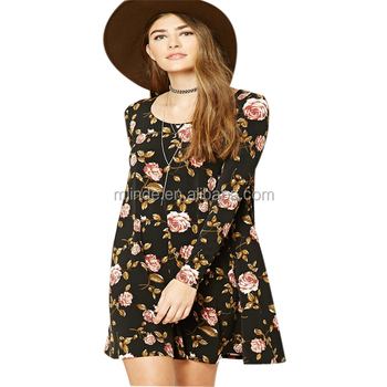 Latest Dress Designs Photos Hot Sexy Girls Flower Printed Dress Long Sleeve Scoop Neck Vintage Frocks Dress For Adult