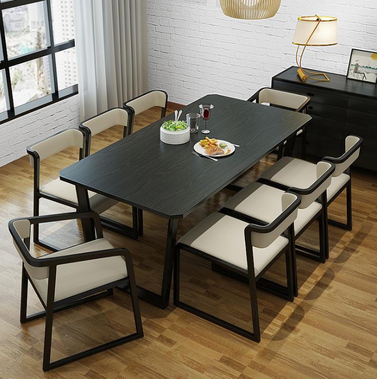 6 стулья гостиная твердой древесины квадратный элегантный деревянный обеденный стол