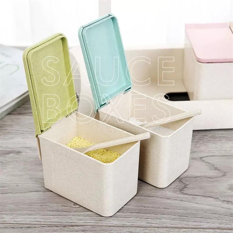 Высококачественная Экологически чистая коробка для приправ, 4 шт./компл., ящик для инструментов из пшеничной соломы, кухонные смесительные инструменты, банка для специй с ложкой