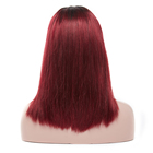 Hair Red Huashuo Highest Discounts 180% Density Remy Peruvian Human Hair Ombre Dark Red 99J Lace Front Short Wavy Bob Wig
