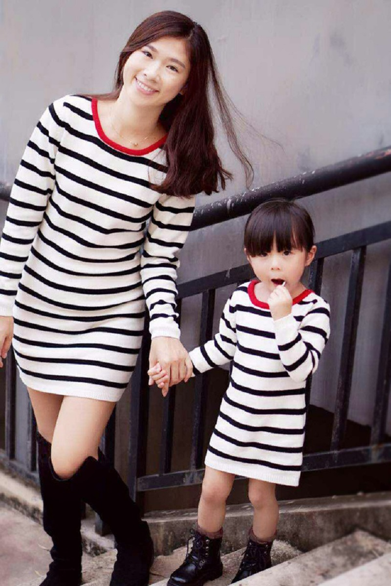 Family Matching Outfits Summer Cotton Striped Dress Mother and Daughter Long Sleeve Dress Girls Clothing