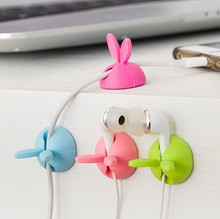 2Pcs/Lot Rabbit Ears Cable Winder Wire Retainer Drop Clip Desk Tidy Organizer Wire Cord Lead USB Charger Holder 063