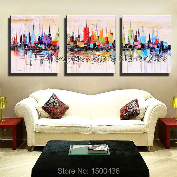 New York City Picture Canvas Painting Modern Wall Art: 2019 Hand Painted City Canvas Art Oil Painting Abstract