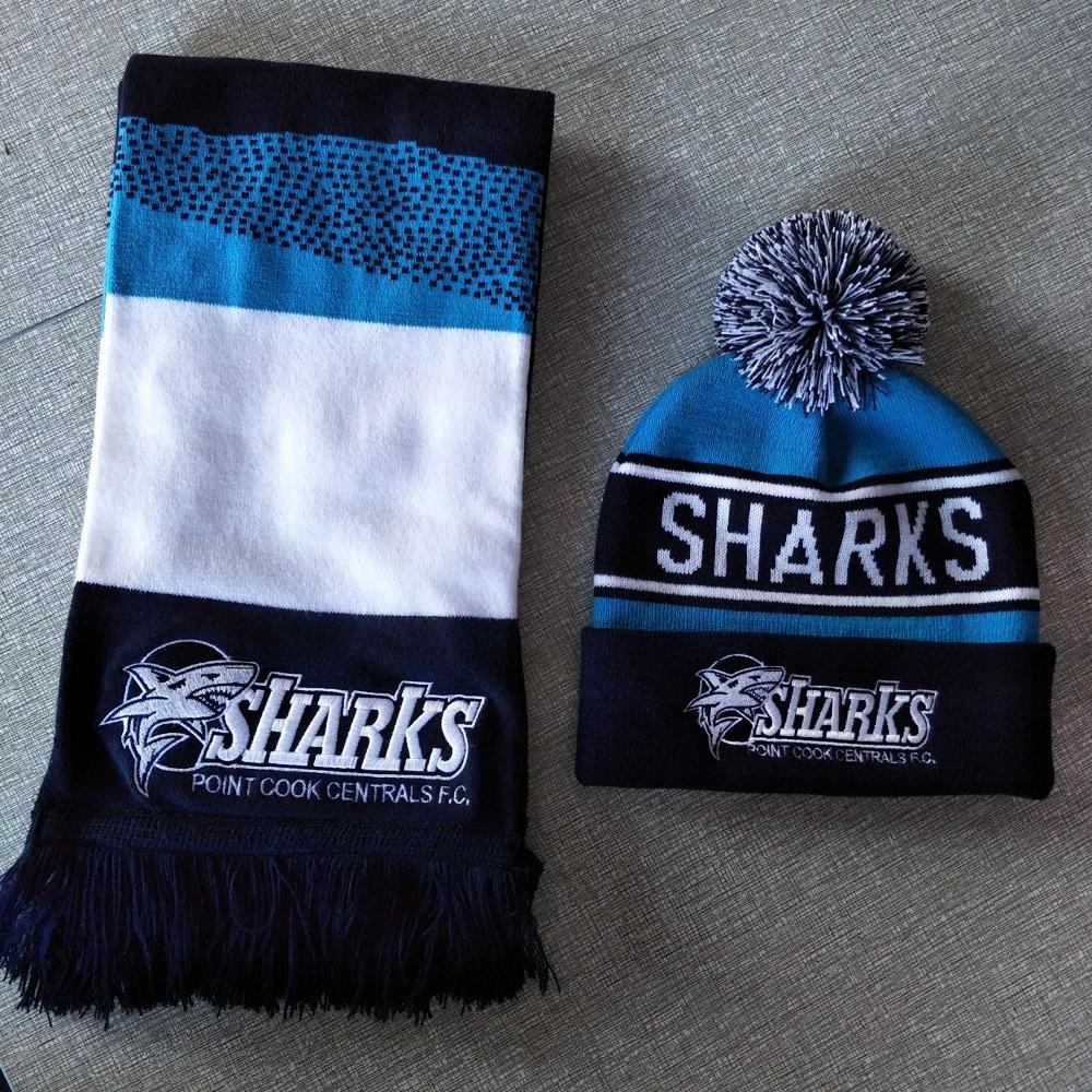 Рекламный акриловый вязаный спортивный футбольный шарф и шапки для фанатов