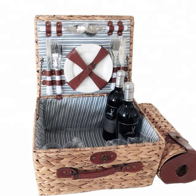Корзина для пикника, плетеная корзина, лидер продаж, популярная уличная корзина для кемпинга с Гиацинтом, корзина для пикника
