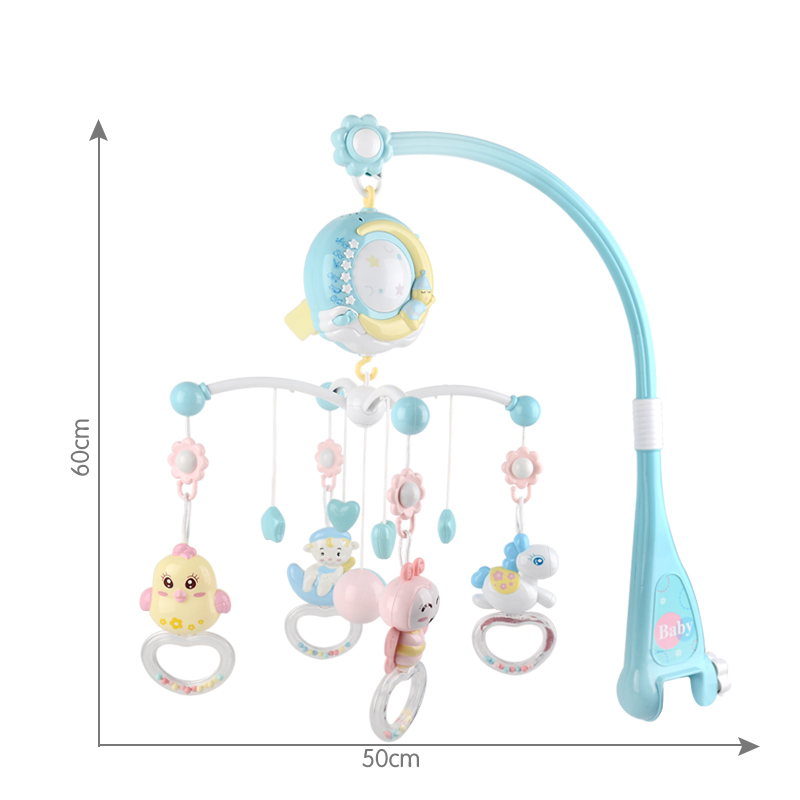 Baby Musical Crib Mobile Remote Control Projector toys Music Box with 150 Lullabies Teether Animal Rattle Newborn Gift