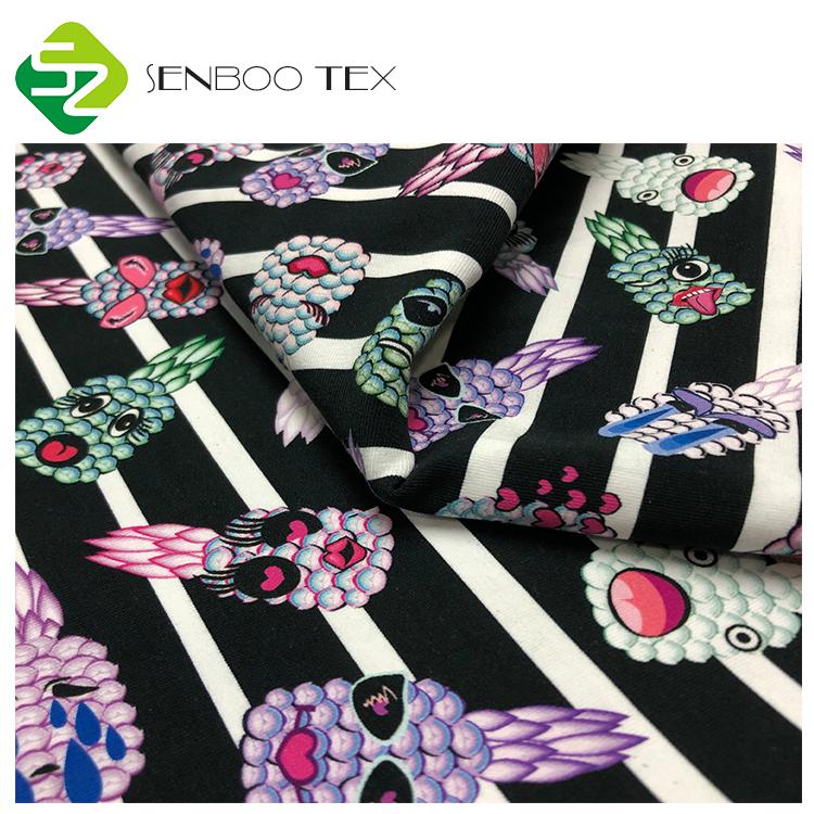 Изготовленная на заказ ткань из спандекса с принтом 190 ~ 200gsm 97 хлопок 3 Спандекс Трикотажная Ткань для женской одежды