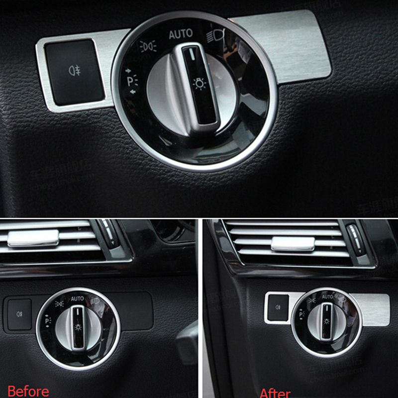 Mercedes Accessories: Chrome Front Head Light Switch Cover Trim Sticker For