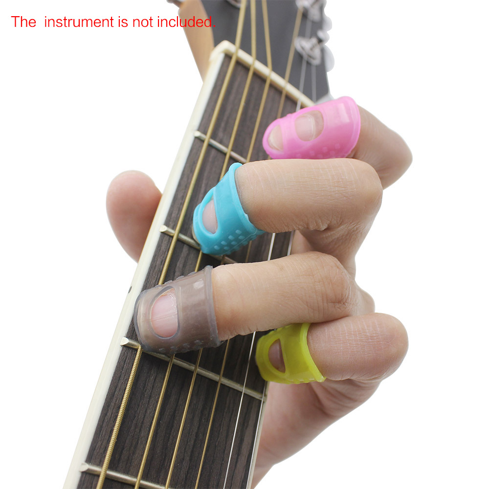 4 in 1 fingertip protector fingerstall silicone guitar string finger guard left hand against the. Black Bedroom Furniture Sets. Home Design Ideas