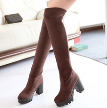 thick heel Stretch tight over the knee boots women sexy fashion faux suede shoes Black Brown
