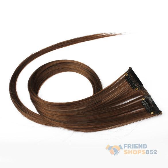 Золотисто-коричневого цвета клип на волосы прямые расширения простая в лонг элегантный #LD789