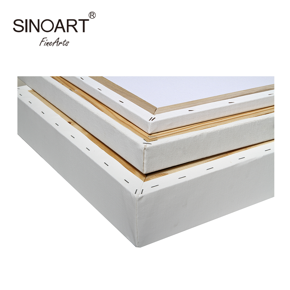 Sinoart Professional Art supplies Stretched Cotton Linen Blank White Art Canvas For 3 Style