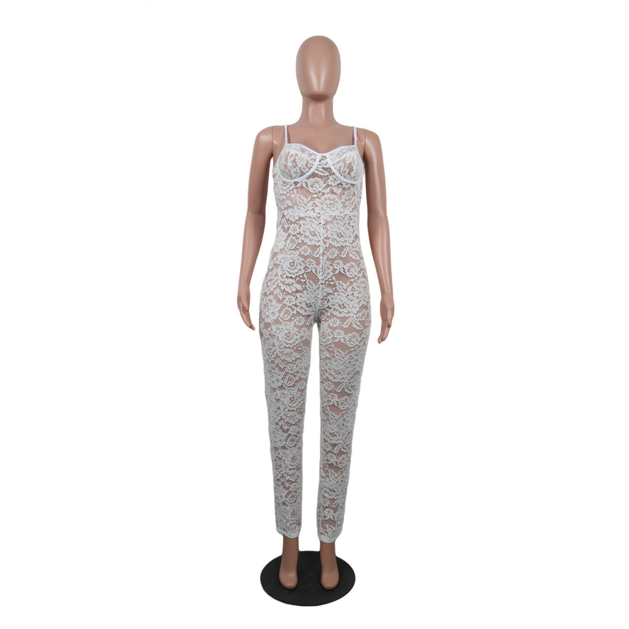 37f77dee4a6 2019 Summer White Lace Jumpsuit Women Strap See Through Bodysuit ...