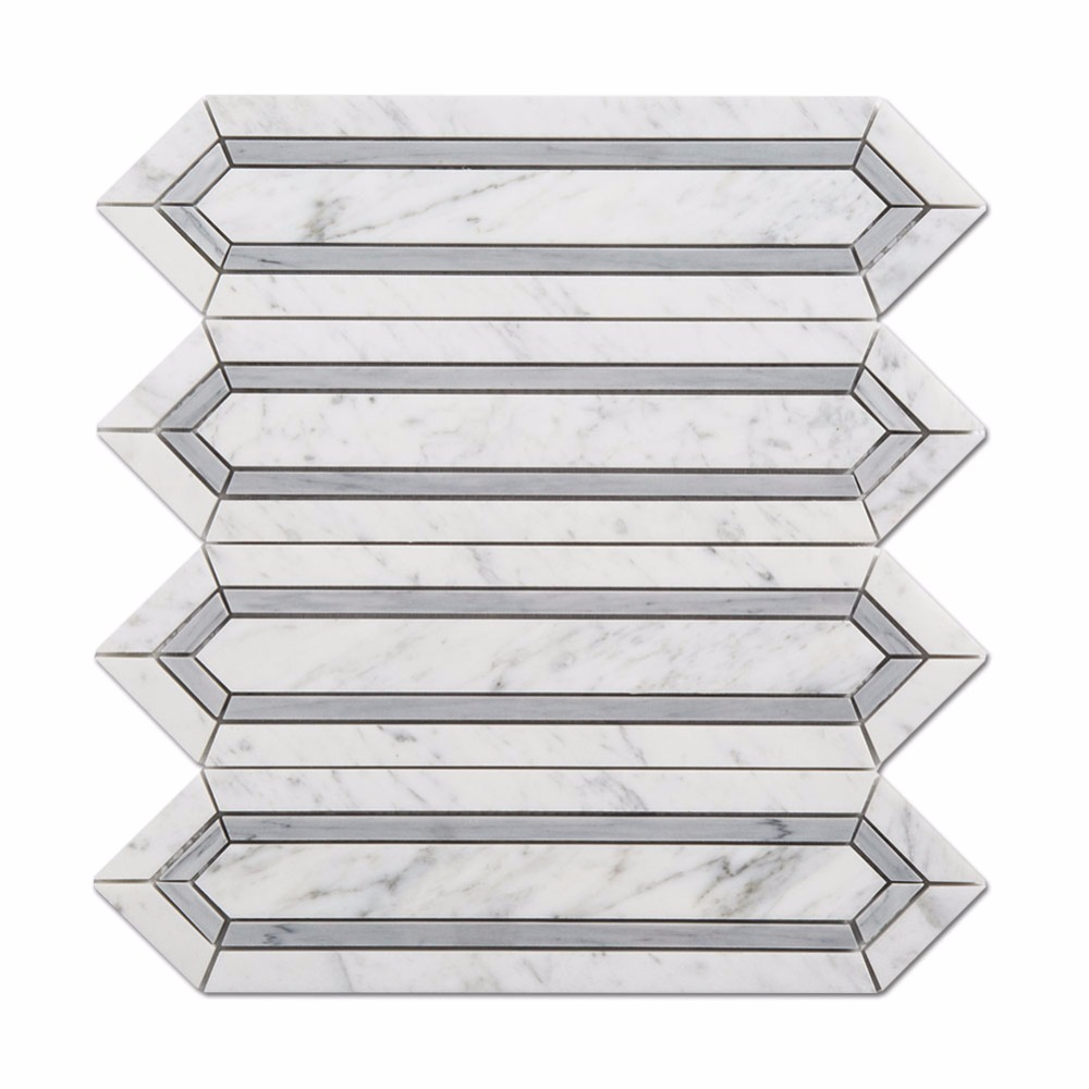 Polished Natural Stone White And Grey Marble Mosaic Tile for Bathroom