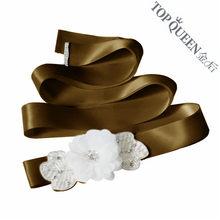 Женский винтажный пояс TOPQUEEN, с цветами и бусинами, с аппликацией из кристаллов, с белым цветком, S210(China)