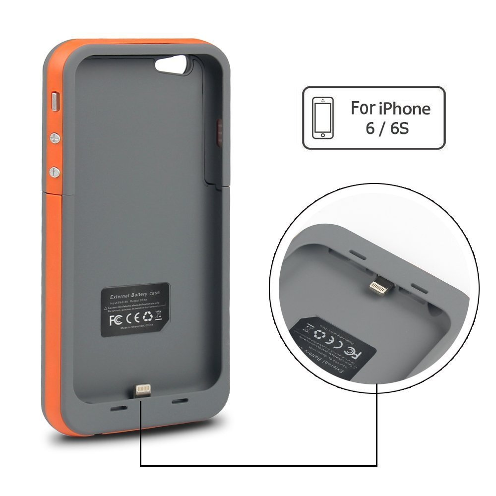 Portable Protective Battery Charger Cover Case For Iphone 6 / 6s Mobile Power Bank Case 3800mah - Buy Battery Case For Iphone 6,Power Case For Iphone ...