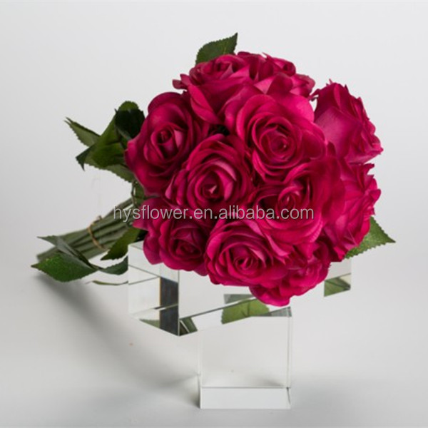 wedding bouquet wholesale artificial flower real touch fuchsia rose latex artificial flowers. Black Bedroom Furniture Sets. Home Design Ideas