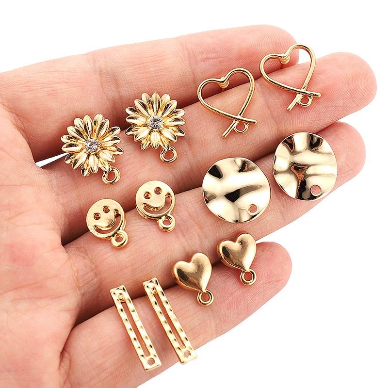 Медные серьги-гвоздики с защитой от цветов, ювелирные аксессуары «сделай сам», материал ручной работы, кольцо, квадратные, изогнутые, овальные, крупные геометрические